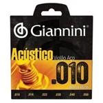 Jogo de Cordas para Violão Série Acústico Aço 0.10 Giannini