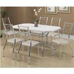 Jogo de Mesa 1507 e 6 Cadeiras 1710 Cromado/branco/retrô Metalizado - Carraro
