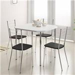 Jogo de Mesa 1510 e 4 Cadeiras 1703 Cromado/branco/preto - Carraro