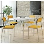 Jogo de Mesa 1525 e 4 Cadeiras 1709 Cromado/branco/amarelo - Carraro