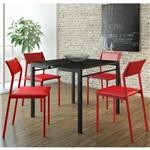 Jogo de Mesa 1525 e 4 Cadeiras 1709 Preto/vermelho - Carraro