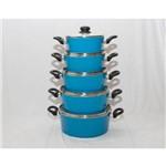 Jogo de Panelas com 5 Peças, com Tampa de Vidro, Disponível na Cor Azul.