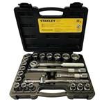 Jogo de Soquete Estriado 8 a 32mm Encaixe 1/2 22pçs Stanley
