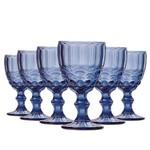 Jogo de Taças Água Elegance Azul 260ml Vidro Class Home