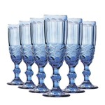 Jogo de Taças Champagne Elegance Azul 140ml Class Home