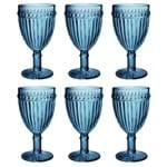 Jogo de Taças para Água em Vidro Lyor Empire 6 Peças 250ml Azul