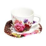Jogo de Xícaras Café Rosas 12 Peças Porcelana Dm Brasil