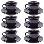 Jogo de Xícaras de Chá Black - 12 Peças - Oxford