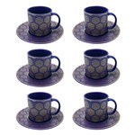 Jogo de Xícaras para Café em Porcelana Dm Brasil Blue 6 Peças