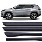 Jogo Friso Lateral Tipo Borrachão Jeep Compass 2017 e 2018 Preto Grafia Modelo Original