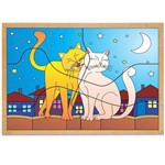 Jogo Quebra-Cabeça Casal Gatos com 6 Peças + 1 Base 1244 - Carlu