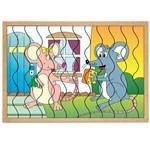 Jogo Quebra-Cabeça Casal Ratos com 12 Peças + 1 Base 1287 - Carlu
