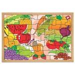 Jogo Quebra-Cabeça Frutas e Legumes com 55 Peças + 1 Base 1300 - Carlu