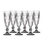 Jogo Taça Champagne Diamante 140ml Clear 6 Peças Class Home