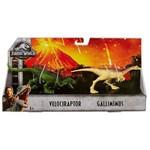 Jurassic World:dinossauros Velociraptor e Gallimimus