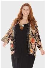 Kimono Costela de Adão Plus Size Rosê-Único