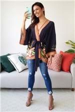 Kimono Farm Estampa Lenço Tropicana - Azul
