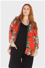 Kimono Folhagens Plus Size Vermelho-Único
