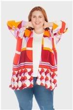 Kimono Geométrico Plus Size Colorido-Único