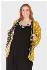 Kimono Listrado Plus Size Mostarda-Único