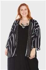 Kimono Listrado Plus Size Preto-Único