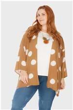 Kimono Maxi Bolas Plus Size Bege-Único