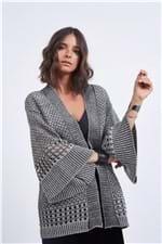 Kimono Tricot Lurex Cinza Chumbo - M