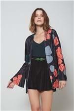 Kimono Veludo Est Floral Black Est Floral Black Preto - PP