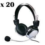 Kit 20 - Fone de Ouvido com Microfone e Ajuste de Volume Weile Wl-301mv 105db para Lan House