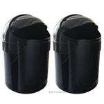 Kit 02 Lixeira Lixo Tampa Basculante 6 Litros Preta Ct5