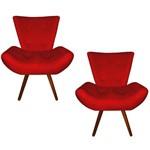 Kit 02 Poltrona Cadeira Daiana Sala Escritório e Recepção Quarto Corino Vermelho Luxo - DS DECOR