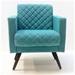 Poltrona Cadeira Decorativa Mara Sala Escritório Suede Azul