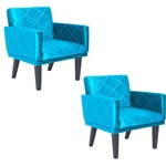 Kit 02 Poltronas Decorativas para Sala e Escritório Letícia Suede Azul