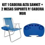 Kit 1 Cadeira Alta Sannet Alumínio + 2 Mesa Portátil para Cadeira de Praia