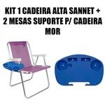 Kit 1 Cadeira Alta Sannet Alumínio + 2 Mesas Portáteis para Cadeira de Praia