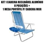 Kit 1 Cadeira Reclinável Alumínio 8 Posições + Mesa Portátil para Cadeira de Praia Mor