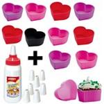Kit 12 Forminhas Silicone Coracao Cupcake + Decorador com 8 Bicos Mor