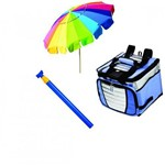 Kit 1 Guarda Sol Rainbow 1 Saca Areia 1 Bolsa Cooler 24 Litros Mor