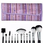Kit 12 Pincéis para Maquiagem + Necessaire Macrilan KP1-5B Estampa Listras e Coração Lilás