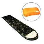 Kit 1 Saco de Dormir Echolife Camuflado + 1 Travesseiro Inflável para Camping