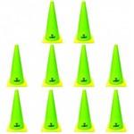 Kit 10 Cones de Agilidade para Demarcacao com 38 Cm Verde Limao Liveup