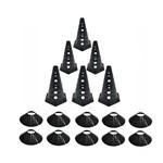 Kit 10 Cones Furado Demarcatório + 10 Pratos Agilidade Black