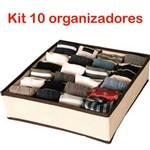 Kit 10 Organizador de Gavetas TNT 24 Espaços para Calcinhas Cuecas Meias