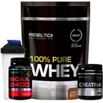 Kit 100% Pure Whey Protein 825g Refil + BCAA 2400 + Creatina + Shaker Probiótica