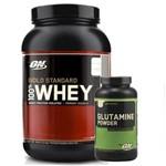 Kit 100 Whey Gold Morango 2lb + Glutamine 300gr - Optimum