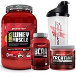 Kit 100% Whey Muscle Baunilha 900g + Creatina 150g + Bcaa 100 Cáps + Coqueteleira - Body Action