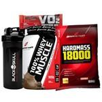 Kit 100% Whey Protein 900g + Hipercalórico Body Action