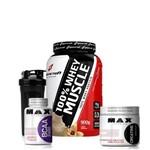Kit 100% Whey/wey Muscle 900g+creatina+bcaa+Coqueteleira - Max Titanium