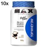 Kit 10X Top Whey 3W - 900g Café com Leite - Max Titanium