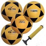 Kit 4 Bolas Futsal Vitoria Oficial Star 1000 com Bomba Ar